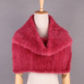 Sweety Winter Women Knitted Genuine Mink Fur Shawl Scarf Thick Fur Collars Wraps - Light Red