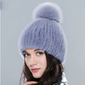 Top Quality Genuine Whole Mink Fur Hats With Fox Fur Ball Women Winter Knitted Beanies - Blue