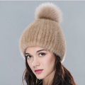 Top Quality Genuine Whole Mink Fur Hats With Fox Fur Ball Women Winter Knitted Beanies - Camel