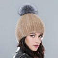 Top Quality Genuine Whole Mink Fur Hats With Silver Fox Fur Ball Women Winter Knitted Beanies - Camel