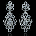 Top quality Czech Rhinestone Crystal Bridal Earrings White Gold Plated Elegant Flower Earrings for Women
