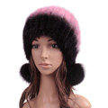 Unique Real Mink Fur Hat With Fox Fur Balls Women Winter Knitted Beanies Dome Caps - Black Pink