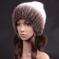 Unique Real Mink Fur Hat With Fox Fur Balls Women Winter Knitted Beanies Dome Caps - Coffee White