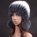 Unique Real Mink Fur Hat With Fox Fur Balls Women Winter Knitted Beanies Dome Caps - Grey White