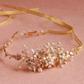 Vintage Gold Crystal Beads Pearl Flower Wedding Bridal Hairbands Women Hair Ribbon Accessories