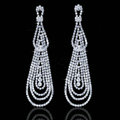 Wedding Jewelry Water Drop Czech Rhinestone Crystal Bridal Earrings Elegant Long Earrings for Women