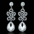 White Gold Plated Luxurious Classic Teardrop Austrian Crystal Bridal Earrings for Women Nickel Free Wedding Jewelry