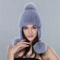 Winter Genuine Mink Fur Caps With Fox Fur Pom Poms Women Knitted Bomber Hat Ear Protector - Blue