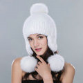 Winter Genuine Mink Fur Caps With Fox Fur Pom Poms Women Knitted Bomber Hat Ear Protector - White