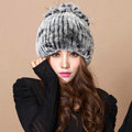 Winter Knitted Beanies Genuine Rex Rabbit Fur Hat With Fox Fur Flower Top Fashion Women Hat - Grey