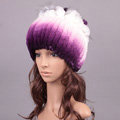 Winter Knitted Beanies Genuine Rex Rabbit Fur Hat With Fox Fur Flower Top Women Hat - Purple