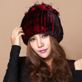 Winter Knitted Beanies Genuine Rex Rabbit Fur Hat With Fox Fur Flower Top Women Hat - Red Black