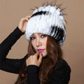 Winter Knitted Beanies Genuine Rex Rabbit Fur Hat With Fox Fur Flower Top Women Hat - White Black