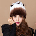 Winter Knitted Beanies Genuine Rex Rabbit Fur Hat With Fox Fur Flower Top Women Hat - White Coffee