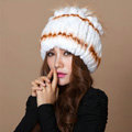 Winter Knitted Beanies Genuine Rex Rabbit Fur Hat With Fox Fur Flower Top Women Hat - White Orange