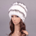 Winter Knitted Beanies Genuine Rex Rabbit Fur Hat With Fox Fur Flower Top Women Hat - White