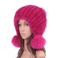 Winter Real Mink Fur Hat With Fox Fur Balls Women Sweety Knitted Beanies Dome Caps - Rose