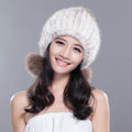 Winter Real Mink Fur Hat With Fox Fur Pom Poms Women Knitted Ear Protection Caps - White Coffee