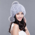 Winter Real Mink Fur Hat With Fox Fur Pom Poms Women Knitted Thicken Ear Protection Caps - Blue Grey