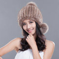 Winter Real Mink Fur Hat With Fox Fur Pom Poms Women Knitted Thicken Ear Protection Caps - Khaki