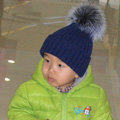 Winter Warm Baby's Knitted Hat With Sliver Fox Fur Poms Poms Unisex Kids Casual Snow Caps - Blue