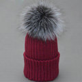 Winter Warm Cute Baby's Knitted Hat With Sliver Fox Fur Poms Poms Unisex Kids Casual Caps - Wine Red