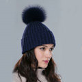 Winter Warm Knitted Beanies Hat With Fox Fur Poms Poms Women Couples Snow Caps - Blue