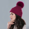 Winter Warm Knitted Beanies Hat With Fox Fur Poms Poms Women Couples Snow Caps - Wine Red