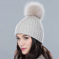 Winter Warm Knitted Beanies Hat With Fox Fur Poms Poms Women Unisex Casual Caps - Beige