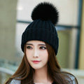 Winter Warm Knitted Beanies Hat With Fox Fur Poms Poms Women Unisex Casual Caps - Black