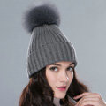 Winter Warm Knitted Beanies Hat With Fox Fur Poms Poms Women Unisex Casual Caps - Grey