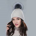 Winter Warm Knitted Beanies Hat With Sliver Fox Fur Poms Poms Women Snow Caps - Beige