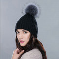 Winter Warm Knitted Beanies Hat With Sliver Fox Fur Poms Poms Women Snow Caps - Black