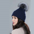 Winter Warm Knitted Beanies Hat With Sliver Fox Fur Poms Poms Women Snow Caps - Blue