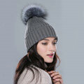 Winter Warm Knitted Beanies Hat With Sliver Fox Fur Poms Poms Women Snow Caps - Grey