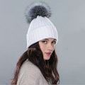 Winter Warm Knitted Beanies Hat With Sliver Fox Fur Poms Poms Women Snow Caps - White
