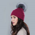 Winter Warm Knitted Beanies Hat With Sliver Fox Fur Poms Poms Women Snow Caps - Wine Red