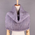 Winter Women Knitted Genuine Mink Fur Shawl Scarf Elasticity Large Fur Neck Wraps - Blue Grey