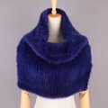 Winter Women Knitted Genuine Mink Fur Shawl Scarf Elasticity Large Fur Neck Wraps - Blue
