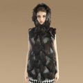 Women Fashion Luxury Genuine Natural Silver Fox Fur Vest With Hooded Long Fur Gilet - Coffee