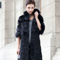 Women Luxury Genuine Nature Fox Fur Coat and Lamb Fur Jacket Ladies Winter Long Outwear - Black