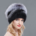 Women Winter Genuine Rex Rabbit Fur Hat With Fox Fur Pom Poms Top Knitted Beanies - Black Grey