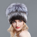 Women Winter Genuine Rex Rabbit Fur Hat With Fox Fur Pom Poms Top Knitted Beanies - Coffee Grey