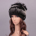 Women Winter Knitted Beanies Genuine Rex Rabbit Fur Hat With Fox Fur Flower Top Hat - Black Grey