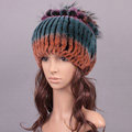 Women Winter Knitted Beanies Genuine Rex Rabbit Fur Hat With Fox Fur Flower Top Hat - Blue Orange
