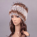 Women Winter Knitted Beanies Genuine Rex Rabbit Fur Hat With Fox Fur Flower Top Hat - Grey Brown