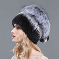 Women Winter Knitted Beanies Genuine Rex Rabbit Fur Hat With Fox Fur Pom Poms Top - Black Grey