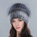Women Winter Knitted Beanies Genuine Rex Rabbit Fur Hat With Fox Fur Pom Poms Top - Deep Grey