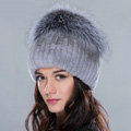 Women Winter Knitted Beanies Genuine Rex Rabbit Fur Hat With Fox Fur Pom Poms Top - Light Grey