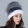 Women Winter Knitted Beanies Genuine Rex Rabbit Fur Hat With Fox Fur Pom Poms Top - White Grey